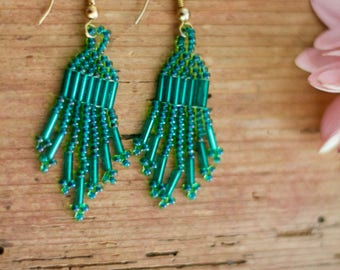 Vintage | Green Beaded Chandelier Earrings