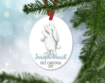 Personalized First Christmas Ornament, Baby Boy Keepsake Ornament, Baby's 1st Christmas, Christmas Baby Bunny, Christmas Gift (044)