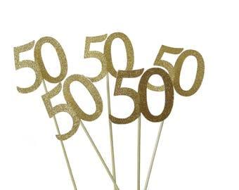 50th Birthday Centerpiece, 50th Anniversary Floral Centerpiece, Gold Decor - Set of 5 - No1141