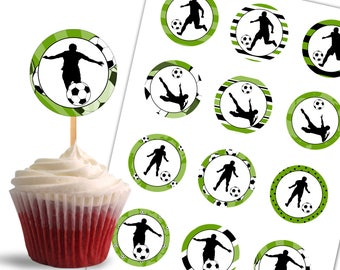 Soccer Cupcake Toppers, Birthday Printable Cupcake Toppers, Soccer Theme Party Decorations - Instant Download - DP434