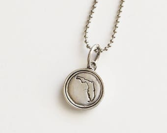 Florida, Stamped Florida Necklace, Florida Jewelry, State Jewelry, Florida, Florida Charm, Florida Necklace, FL