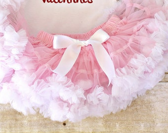 All in one! PETTISKIRT BLOOMER  pink and white  Baby Vintage Chiffon, tutu diaper coverNewborn, infant, toddler 0-18 months
