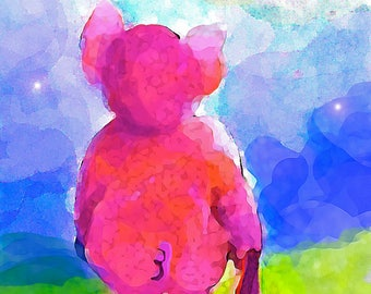 Goodnight Piglet-Whimsical Art Print by SQ Streater-Free Shipping