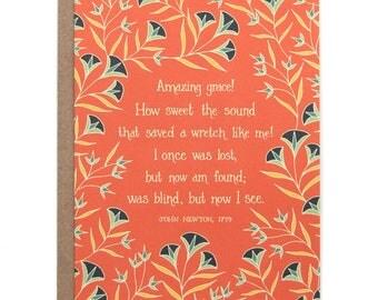 Amazing Grace Hymn Greeting Card gift for women grandma gift floral stationery art print botanical print birthday card housewarming gift