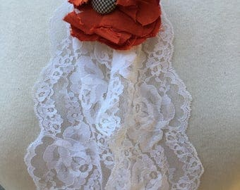 Steam Punk Recycled Lace Neck Piece with Fabric button flower.