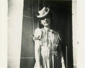 "Vintage Photo ""The Mysterious Traveler"" Snapshot Antique Black & White Photograph Found Paper Ephemera Vernacular Interior Design Mood - 127"