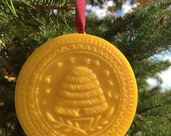 Beeswax Ornament - Bee Skep- 4.25 in wide