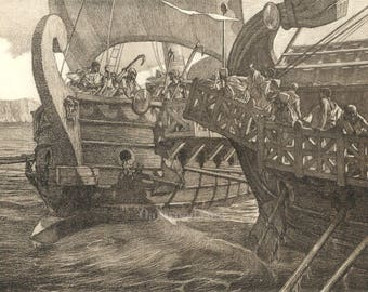 The War Ships by Tito Lessi, Antique Italian 10x12 Sepia Engraving c1890s, From The Decameron by Giovanni Boccaccio, FREE SHIPPING