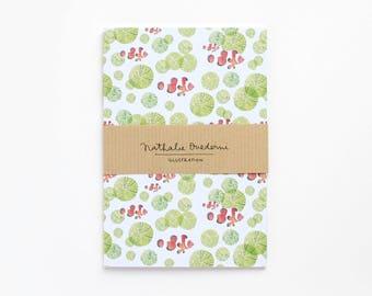 green notebook, green journal, green red notebook, notebook, journal, diary, A6 notebook, A6 journal, A6 diary, A6 sketchbook