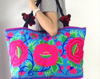 XL Oversize Ethnic Hobo Boho Asian Embroidered Thai Tote Shoulder Shoppers Hmong HandBag
