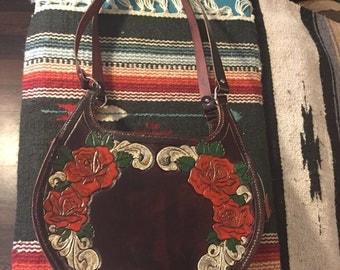 Hand made tooled leather purse