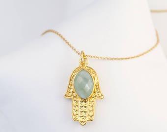 Gold Hamsa Hand Necklace, Birthstone Jewelry, Custom Birthstone Necklace, Good Luck Hand Necklace
