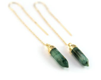Raw Emerald Threaders Gold, Natural Stone Earrings, 14k Gold Fill, Emerald Earrings Dangle, May Birthstone Earrings, Holiday Gifts for Her