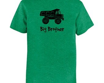 Big Brother Dump Truck Shirt - Kids Big Brother T Shirt-Multiple Colors - Kids Big Brother T shirt - Gift Friendly - PolyCotton Blended Tee