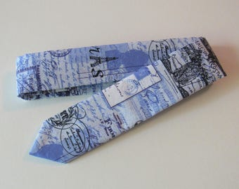 Script Skinny Tie in Blue, Black, White // Cotton Necktie, Paris
