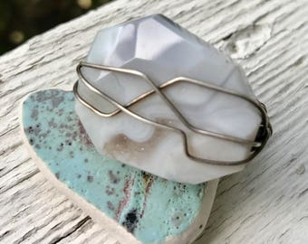 wire wrapped agate ring in sterling silver