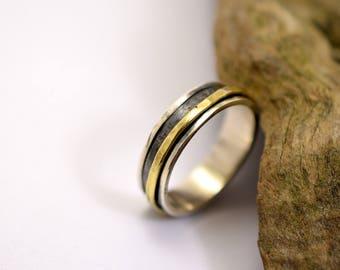 Sterling silver spinning ring , spin ring for man, large men's spinner ring size 12 Men's rotating brass ring, Men's wedding band ring