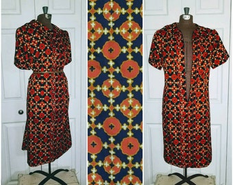 Vonda ... vintage 60s day dress / mod waitress / 1960s mad men housewife / zip front shirtwaist .. L XL bust 44