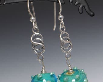 Handmade Turquoise Silver Glass Accent Dots  Lampworking Glass Sterling Silver Earrings