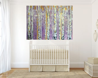 READY TO SHIP: Colorado Prairie Pastel Aspen Birch Tree Painting by MyImaginationIsYours *Whimsical, Nursery, Girly, Pink, Purple*
