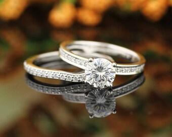Forever One Moissanite Near Colorless Engagement Ring & Diamond Wedding band set  In 14k White Gold,  Gem1474