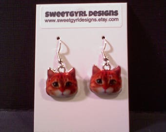 CAT Earrings- Orange Tabby