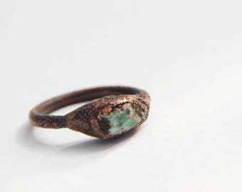 Raw Turquoise and Copper Electroformed Ring  |  Size 6.5