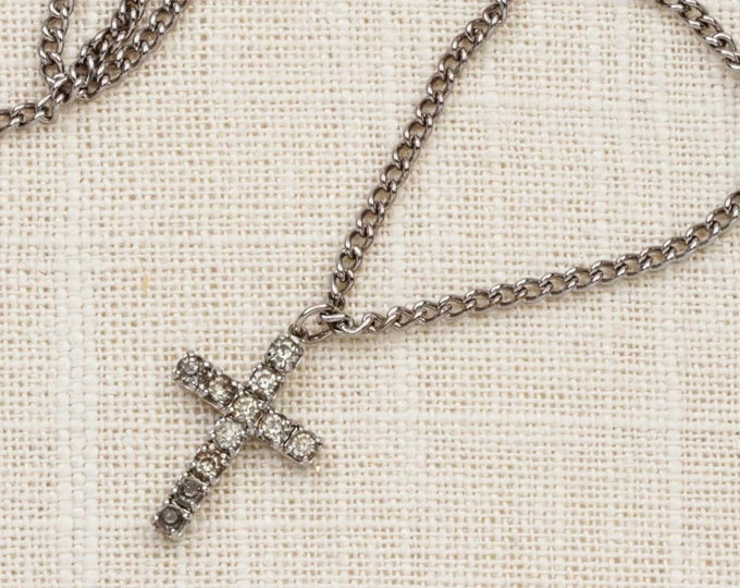 Rhinestone Cross Necklace Vintage Silver Chain Costume Jewelry 7L