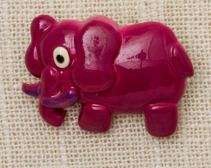 Magenta Elephant Brooch Vintage Vivid Cartoon Broach Vtg Pin 7T