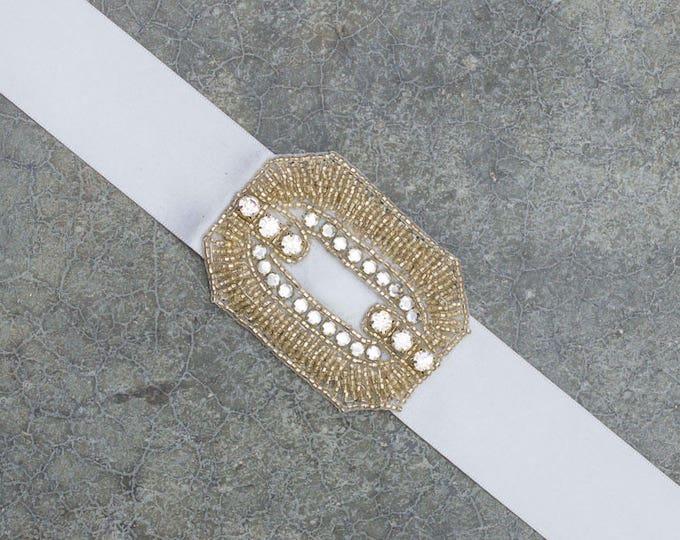 Silver Art Deco Ribbon Belt Grey Satin Embellished Sash Beading Simple 184