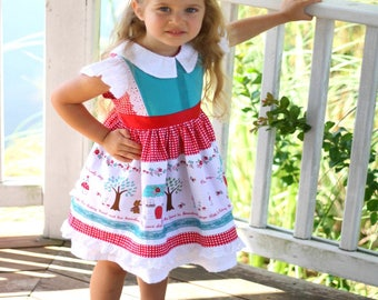 Red Riding Hood Inspired Girls Dress, Boutique Girls Dress, Vintage Style Dress, Little Red Riding Hood Boutique Dress, Baby-Toddler-Girls