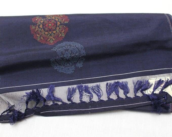 Japanese Ikat Silk. Tsumugi / Pongee. Hand Loomed Kimono Fabric. (Ref: 1875)