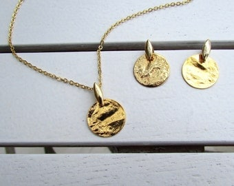 Gold Disc Necklace and Earrings - Gold Coin Necklace, Gold Coin Earrings, Disc Earrings, Disc Necklace, Circle Necklace, Circle Earrings