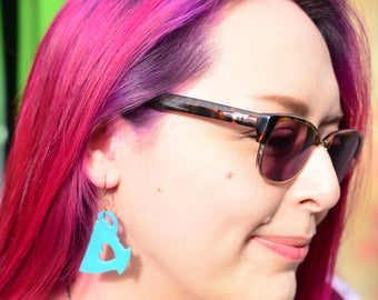 Cup of Tea Earrings | Nickel Free Dangle Earrings | Laser Cut Statement Jewellery | Teal Blue Tea Lover Gift