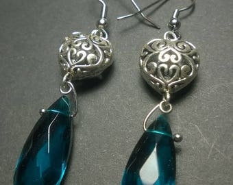 Sterling Sliver Plated Heart Raindrop Earrings