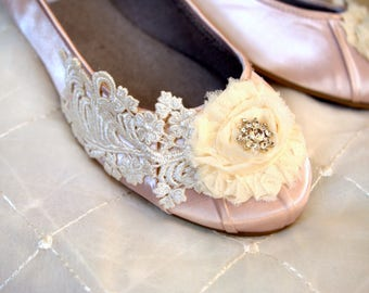 Champagne Wedding flat Size 10  -- Flat shoes- Size 10 Ready to ship -- Champagne Bridal Flat