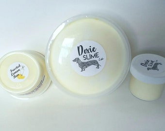 Frosted Lemon Bar, Thick Cloud Cream Slime 2 oz, 4 oz,8 oz