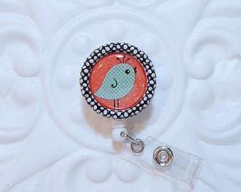 Retractable Badge Holder Bottlecap ID Badge Reel Teacher Lanyard  Cute Bird