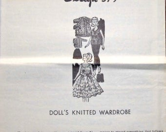 """Vintage 1960s Knitted Barbie Doll Clothes Design Mail Order Knitting Pattern 579 11.5"""" Wardrobe Sweater Shorts Pants Top Dress Gown Coat Hat"""