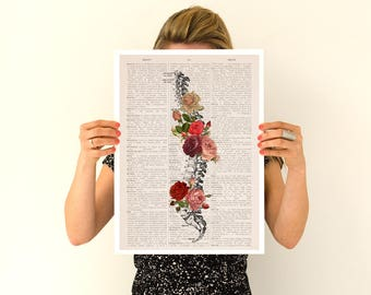 Springtime Spine, Roses Poster, anatomical art, Vertebrae art, Anatomy flower art, Human spine poster, Yoga art poster, wall art, SKA137PA3