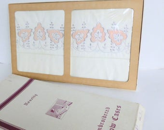 Embroidered Pillowcases Boxed Gift Set Peach and Silver Gray Embroidery