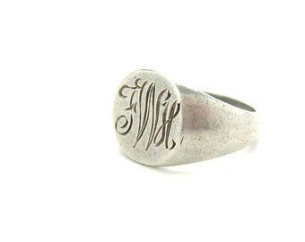 Silver Signet Ring. Monogram FWH or FHW. Engraved Script Initials. Solid Sterling Silver. Vintage C. 1960s  Art Deco Style Jewelry. SZ 8.25+