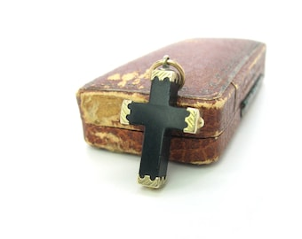 Victorian Whitby Jet Cross Pendant. Engraved 10K Gold. 14K Rose Gold Top Ring. Grand Period 1860s to 1880s. Antique 1800s Mourning Jewelry