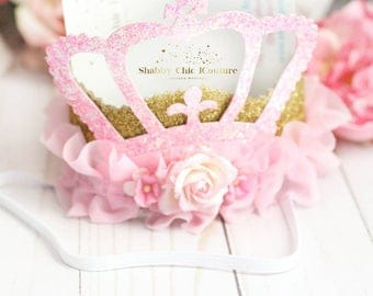 Pink and Gold, Princess Birthday Crown, Personalized Crown, Pink and Gold, Princess Tiara, Roses Crown, Sparkly Crown, Baby Crown, Crown