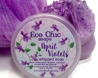 April Violets Whipped Soap - Soap in a Jar  - Body Wash - Fluffy Whipped Soap - VEGAN