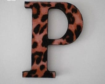 ANIMAL PRINT LETTERS - Handpainted Wall Letters, Initials or Words w/ Cheetah Print Eco Felt in A-Z
