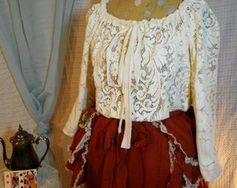 Edwardian Lace overlay long sleeve steampunk victorian shirt