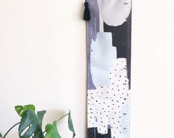 NEW! Growth chart - Handmade canvas height chart - Abstract blue grey grey and black watercolour spots