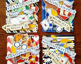 Hand Drawn Wizard House Inspired Die Cuts (Choose your house) for Planners, Travelers Notebooks, Scrapbooking & more!