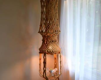Vintage hanging macrame light fixture & table - Bohemian, Retro, Natural